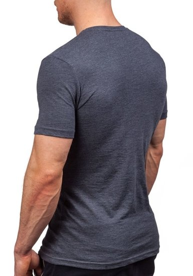 T-shirt męski z nadrukiem antracytowy Denley 1025