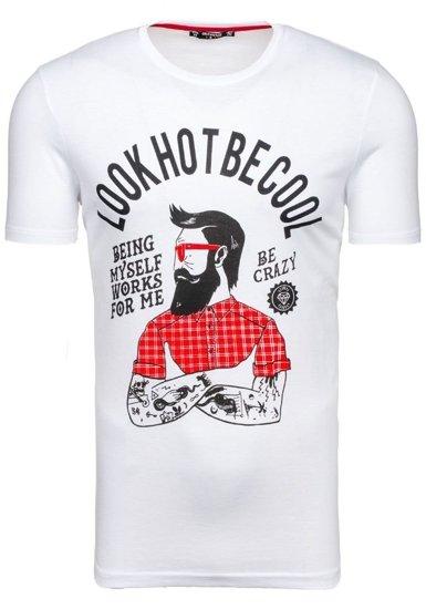 T-shirt męski z nadrukiem biały Denley 1025
