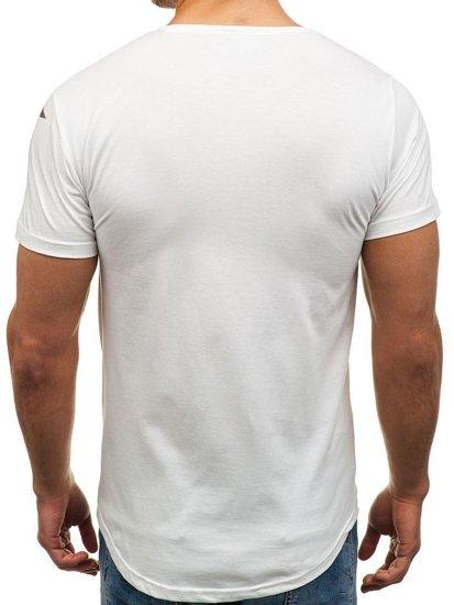T-shirt męski z nadrukiem biały Denley 181210