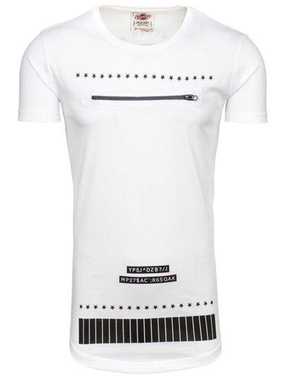 T-shirt męski z nadrukiem biały Denley 265