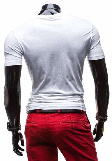 T-shirt męski z nadrukiem biały Denley 3211