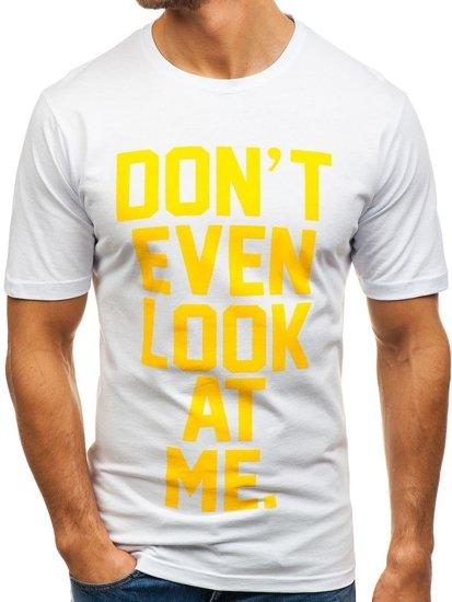 T-shirt męski z nadrukiem biały Denley 6294