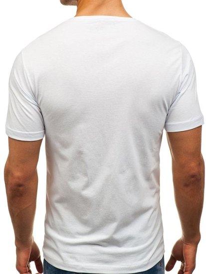 T-shirt męski z nadrukiem biały Denley 6297