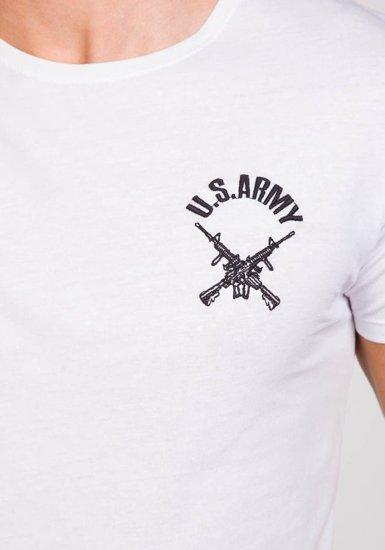 T-shirt męski z nadrukiem biały Denley 9021