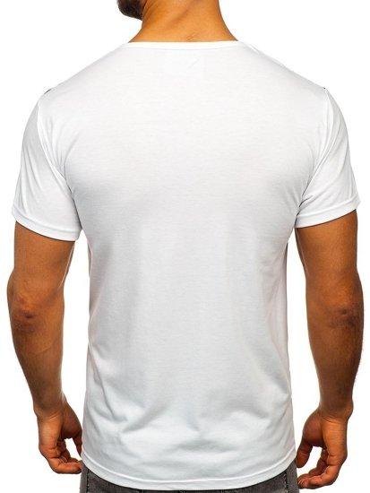 T-shirt męski z nadrukiem biały Denley KS1951