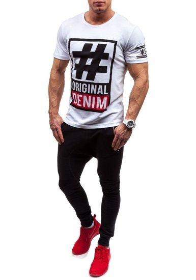 T-shirt męski z nadrukiem biały Denley cmr20