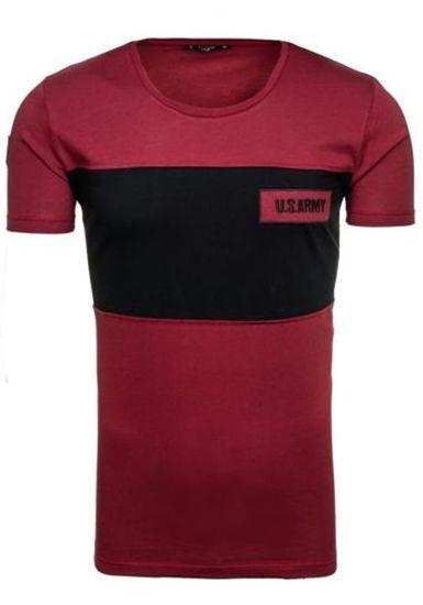 T-shirt męski z nadrukiem bordowy Denley 9034