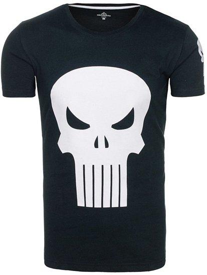 T-shirt męski z nadrukiem czarny Denley 1128