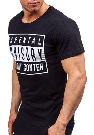 T-shirt męski z nadrukiem czarny Denley 1939