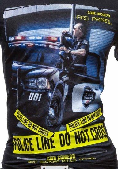 T-shirt męski z nadrukiem czarny Denley 3211