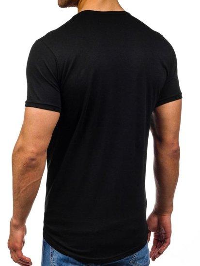 T-shirt męski z nadrukiem czarny Denley 380