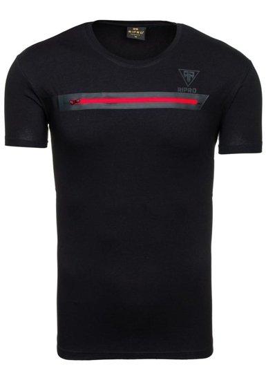 T-shirt męski z nadrukiem czarny Denley 5118