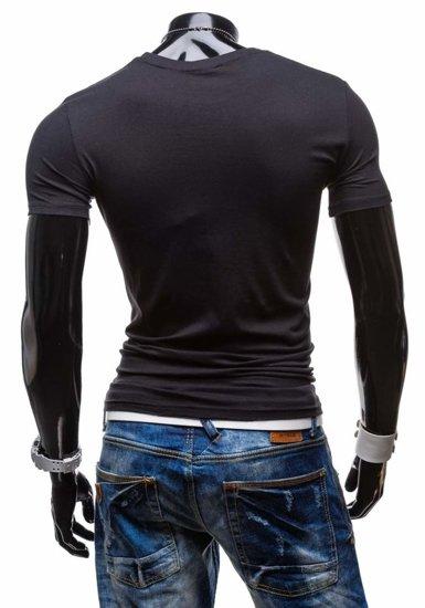 T-shirt męski z nadrukiem czarny Denley 6154