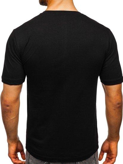 T-shirt męski z nadrukiem czarny Denley 6306
