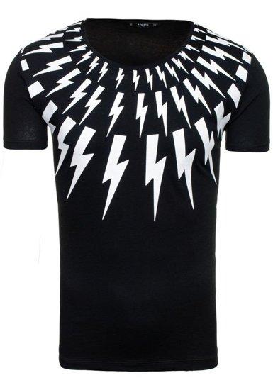 T-shirt męski z nadrukiem czarny Denley 9042