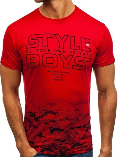 T-shirt męski z nadrukiem czerwony Denley 0010