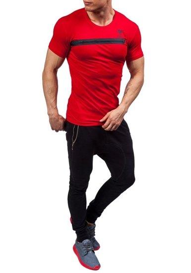 T-shirt męski z nadrukiem czerwony Denley 5118