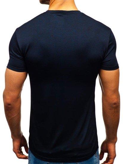 T-shirt męski bez nadruku granatowy Denley S01