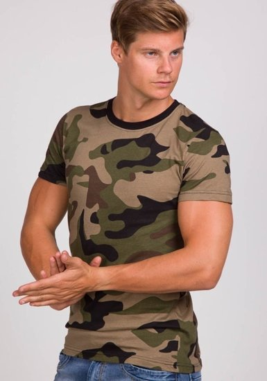 T-shirt męski z nadrukiem moro-khaki Denley 1091