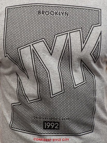 T-shirt męski z nadrukiem szary Denley 0007