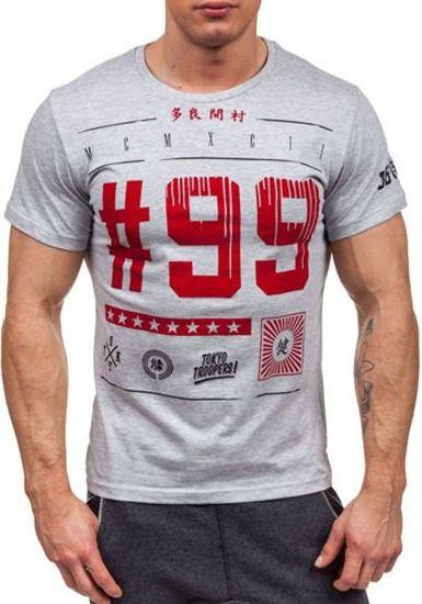T-shirt męski z nadrukiem szary Denley 1946