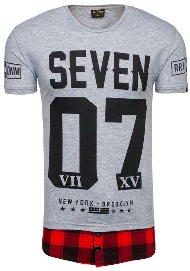 T-shirt męski z nadrukiem szary Denley 5112