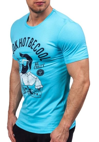 T-shirt męski z nadrukiem turkusowy Denley 1025