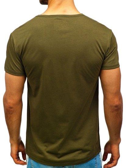 T-shirt męski z nadrukiem zielony Denley 100683