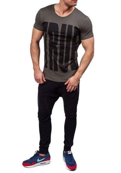 T-shirt męski z nadrukiem zielony Denley 9018