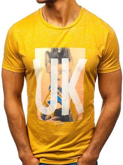T-shirt męski z nadrukiem żółty Denley 7645