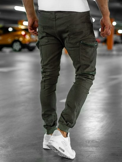 Zielone spodnie joggery bojówki męskie Bolf 0475