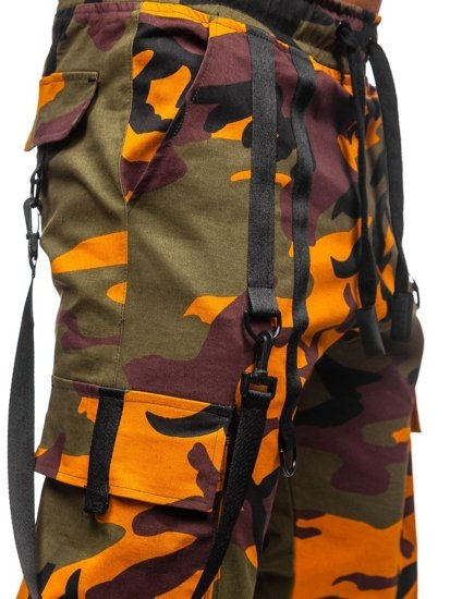 Zielono-pomarańczowe spodnie joggery bojówki męskie Bolf 11105