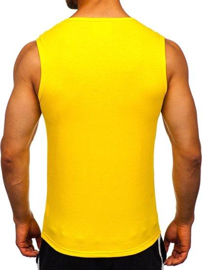 Żółta koszulka tank top bez nadruku Denley 99001