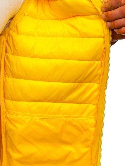Żółta pikowana kamizelka męska z kapturem Denley LY36