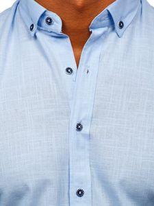 Błękitna bawełniana koszula męska z długim rękawem Bolf 20701