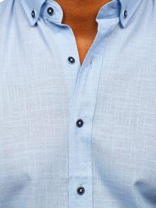 Błękitna bawełniana koszula męska z krótkim rękawem Bolf 20501