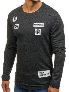 Bluza męska bez kaptura z nadrukiem antracytowa Denley 0745