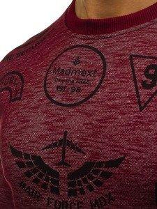 Bluza męska bez kaptura z nadrukiem bordowa Denley 1717