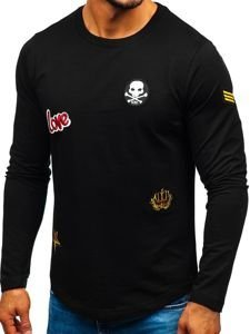 Bluza męska bez kaptura z nadrukiem czarna Denley 0734