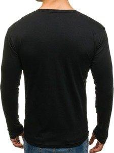 Bluza męska bez kaptura z nadrukiem czarna Denley 1153