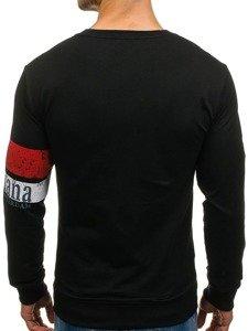 Bluza męska bez kaptura z nadrukiem czarna Denley 1251