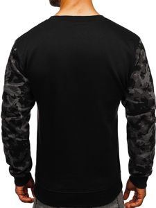 Bluza męska bez kaptura z nadrukiem czarna Denley 22052