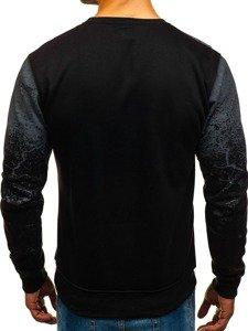 Bluza męska bez kaptura z nadrukiem czarna Denley DD390