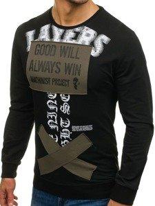 Bluza męska bez kaptura z nadrukiem czarna Denley M10