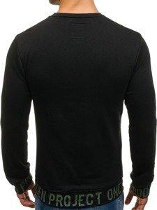 Bluza męska bez kaptura z nadrukiem czarna Denley M12