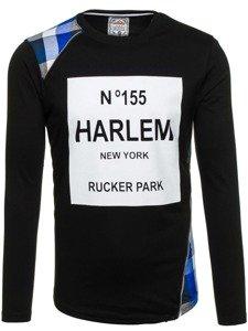Bluza męska bez kaptura z nadrukiem czarno-niebieska Denley 0756