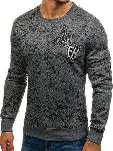 Bluza męska bez kaptura z nadrukiem grafitowa Denley DD115