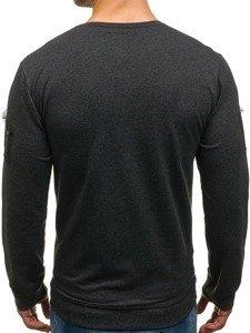 Bluza męska bez kaptura z nadrukiem grafitowa Denley M06