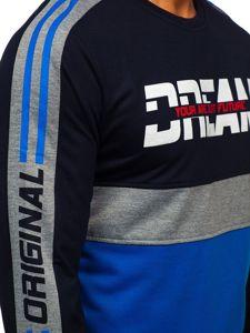 Bluza męska bez kaptura z nadrukiem niebieska Denley HY542