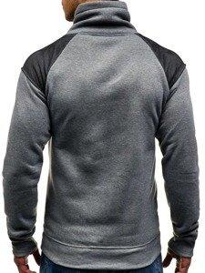 Bluza męska bez kaptura z nadrukiem szara Denley 8153